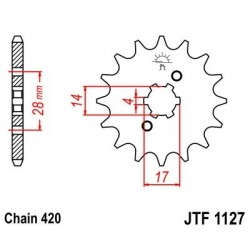 Piñon JT 1127 de acero con 12 dientes