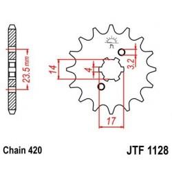 Piñon JT 1128 de acero con 11 dientes