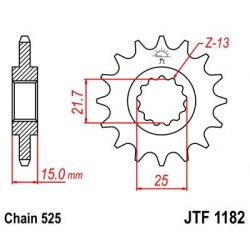 Piñon JT 1182 de acero con 14 dientes