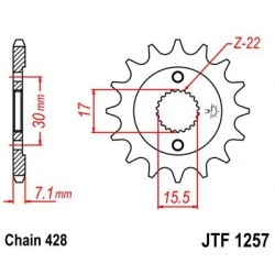 Piñon JT 1257 de acero con 15 dientes