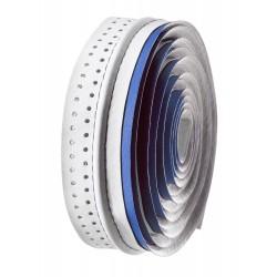 Cinta de manillar VELO microfibra agujereada blanca/azul