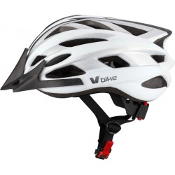 Casco V Bike MTB 19 ventilaciones blanco/silver carbono semi in mould. Talla L (58-61cm)