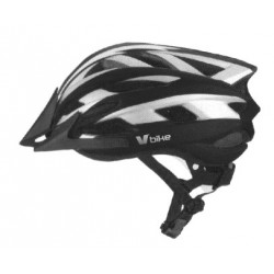 Casco V Bike MTB 19 ventilaciones blanco/silver/negro carbono semi in mould. Talla M (55-58cm)