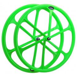 Rueda delantera fixie. 700c. Color Verde Flúor