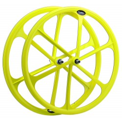Rueda trasera fixie. 700c. Color amarillo Flúor